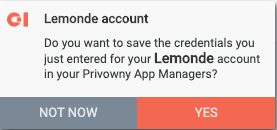 Notification asking to save credentials